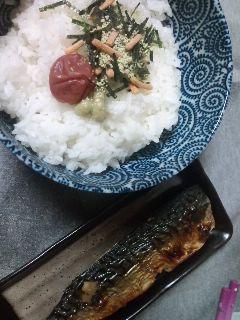 お茶漬けと焼き魚です。