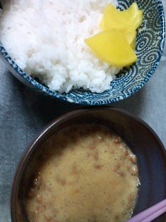 夜食に納豆丼です!