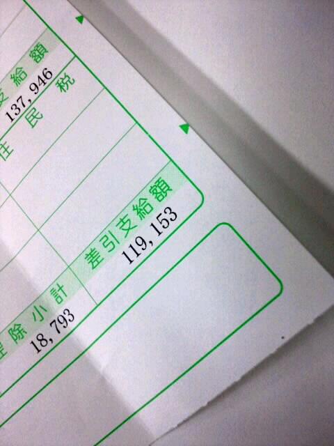 給料明細書(4月)